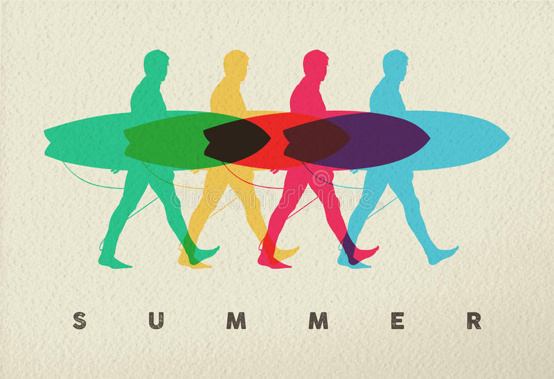 让在海滩人冲浪者构思设计的海浪 向量例证