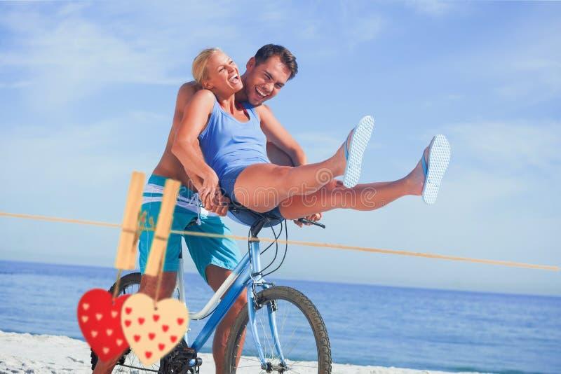 让女朋友在他的标志横线的愉快的人的综合图象搭车 免版税图库摄影
