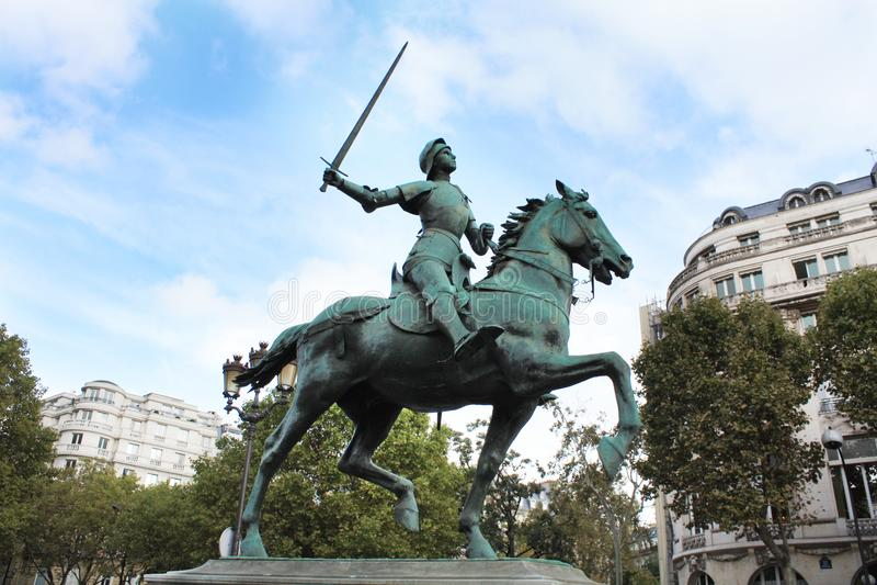 让娜d `弧 圣贞德纪念碑 法国巴黎 免版税图库摄影