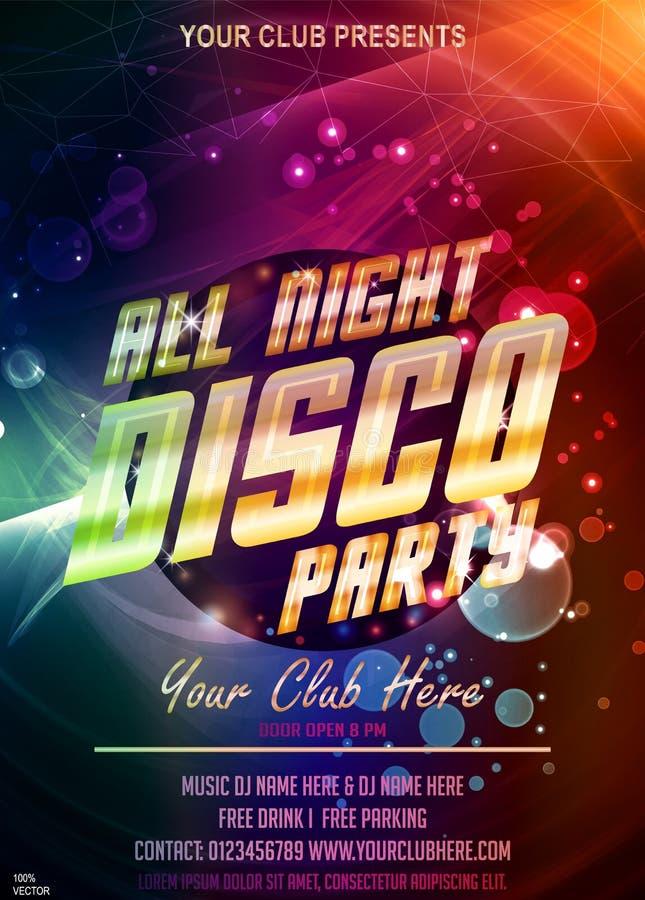 让我们舞会邀请 与别致的金火光标题和bokeh的整夜迪斯科传染媒介海报 向量例证