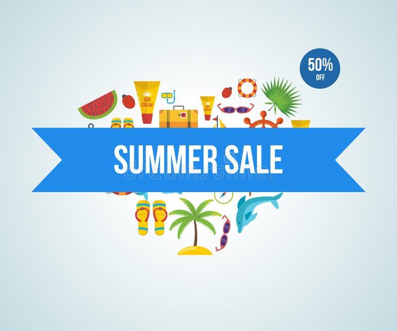 让旅行 另外的背景是蓝色蝴蝶装生动被更改的标志格式销售额天空夏天的星期日于罐中 向量例证