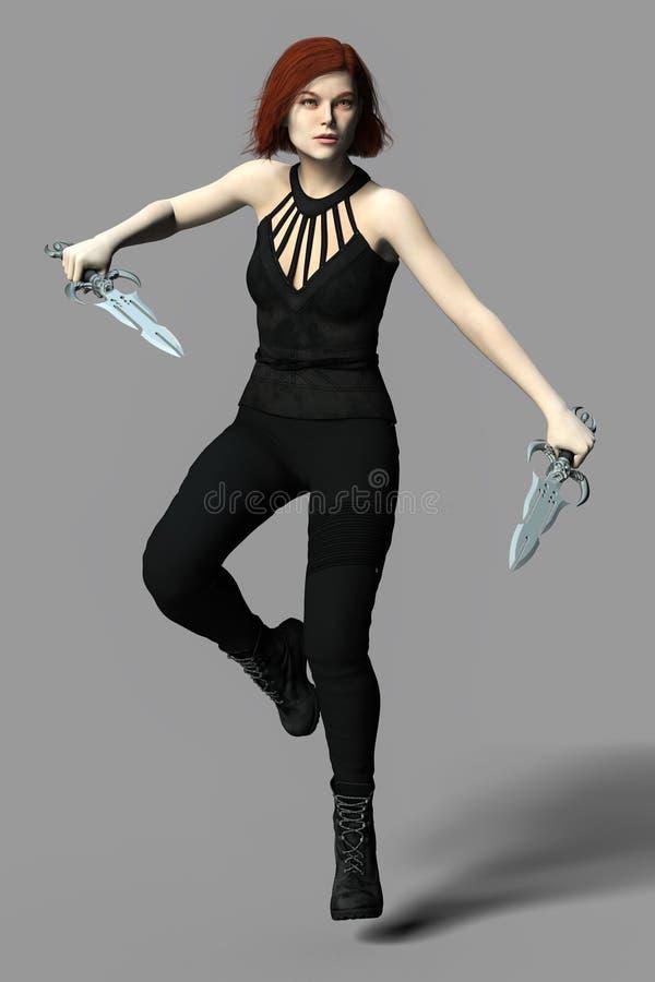 让现代吸血鬼或巫术人物手持两把头骨匕首 库存例证