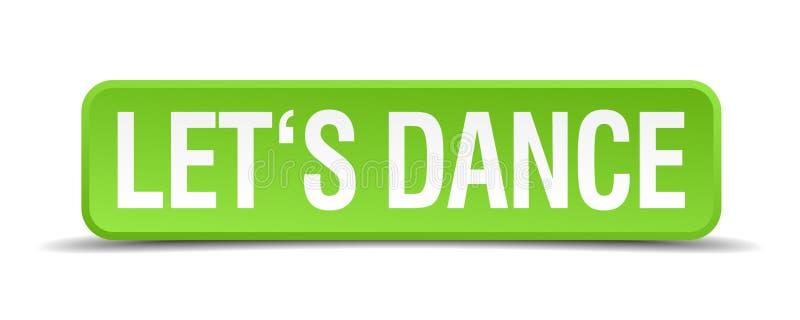 让舞蹈绿色现实正方形被隔绝的按钮 库存例证