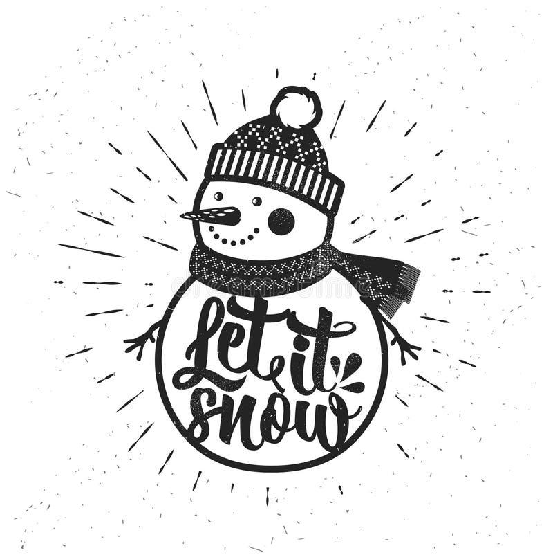 让雪 与雪人的圣诞节减速火箭的海报 这个例证可以使用作为贺卡、海报或者印刷品 皇族释放例证