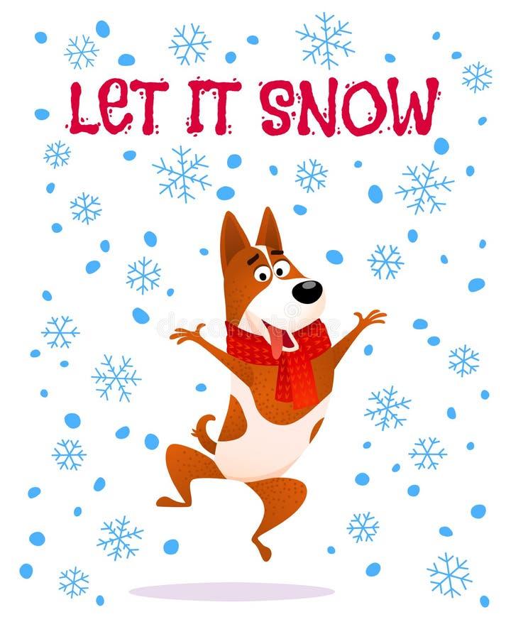 让雪 在红色围巾的动画片跳跃的狗 向量例证