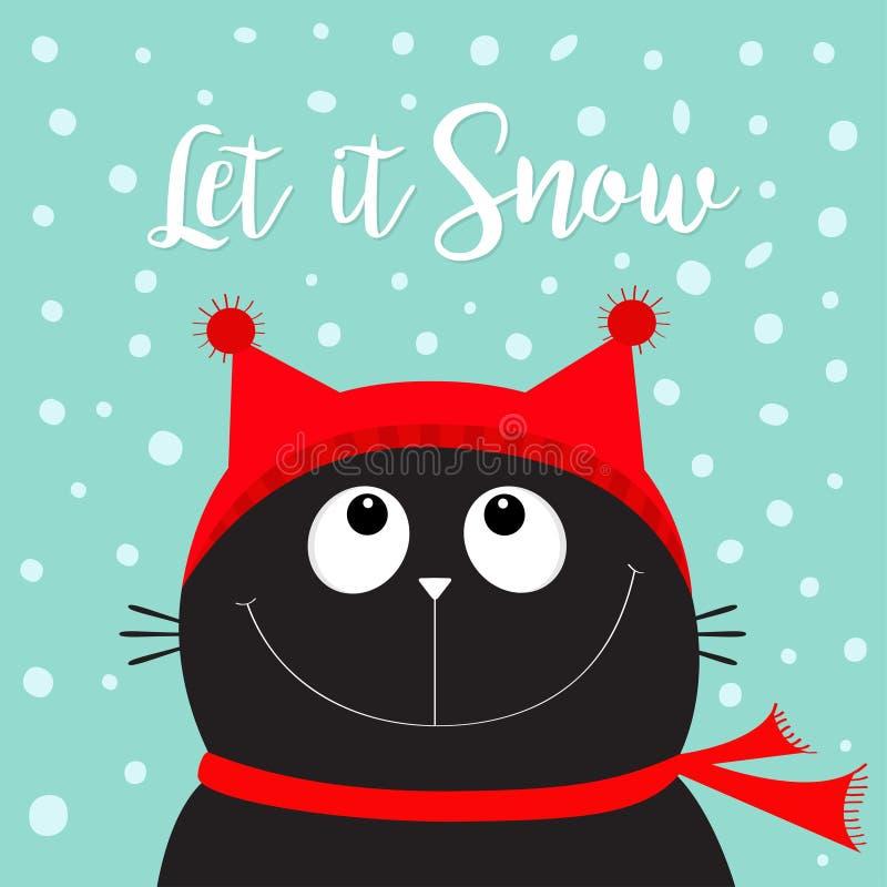 让雪 恶意嘘声小猫查寻头的面孔 红色帽子,围巾 逗人喜爱的滑稽的漫画人物 快活的圣诞节 平的设计 Bl 向量例证