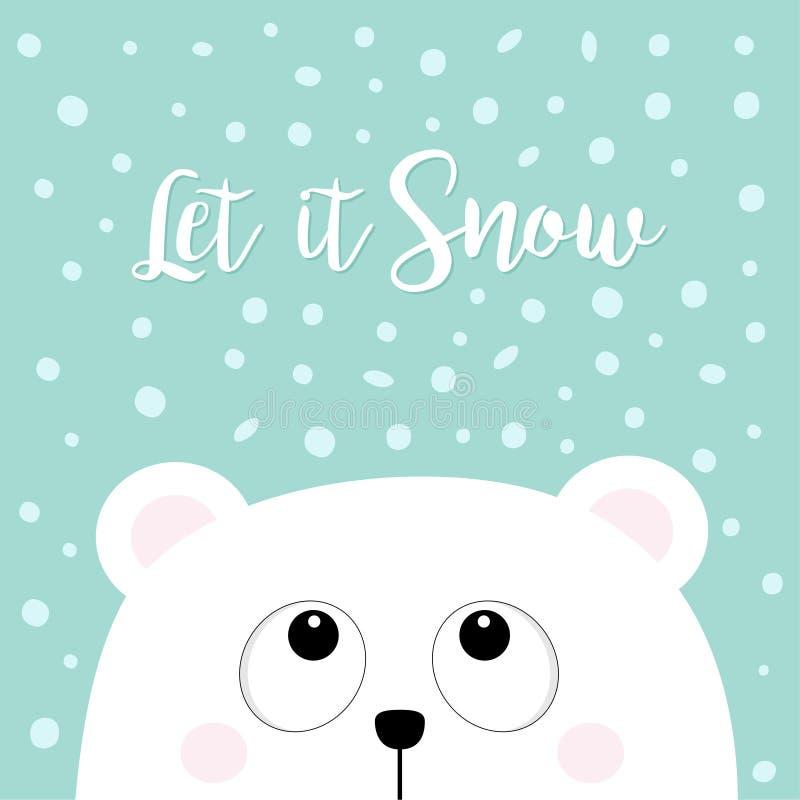 让雪 查寻极性白色矮小的小小熊头的面孔 大眼睛 逗人喜爱的动画片婴孩字符 北极动物 平的de 向量例证