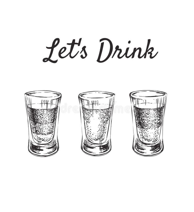 让饮料 三在小玻璃的酒精饮料 手拉的饮料传染媒介例证 向量例证