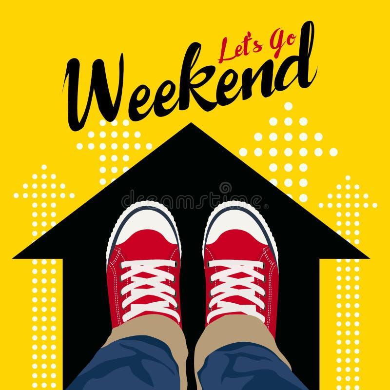 让` s去周末-在黑箭头和黄色背景的顶视图穿戴红色运动鞋导航艺术设计 向量例证
