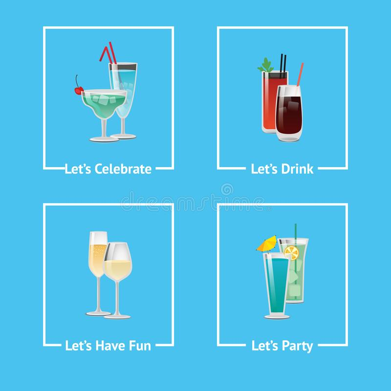让s庆祝,获得党乐趣和喝象 库存例证