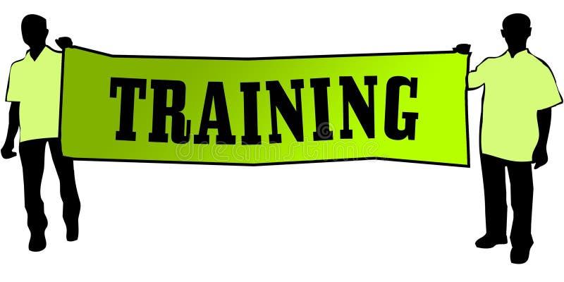 训练在一副绿色横幅由两个人运载了 免版税库存照片