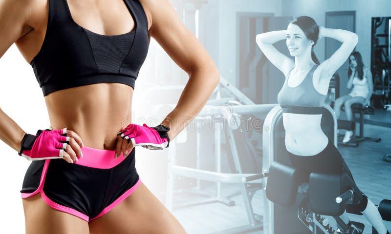 训练在健身房的妇女运动的拼贴画  库存照片