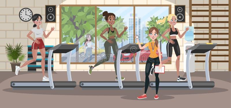 训练在踏车的小组妇女 向量例证