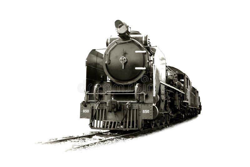 训练在轨道的老蒸汽机车太平洋 免版税库存图片