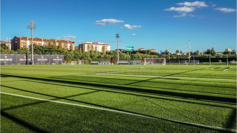 训练场和加泰罗尼亚的足球俱乐部,巴塞罗那足球俱乐部学院基地  海藻 巴塞罗那2017年 库存照片