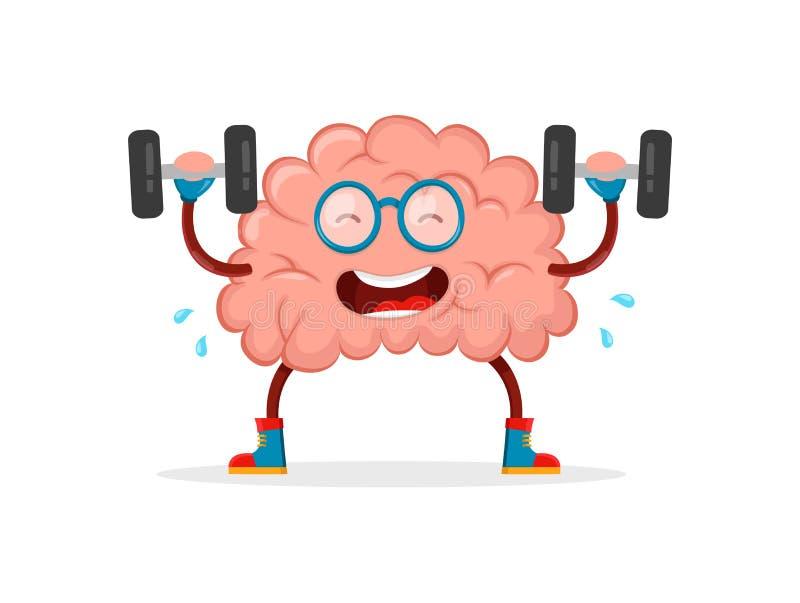 训练您的脑子 脑子平传染媒介的动画片 库存例证