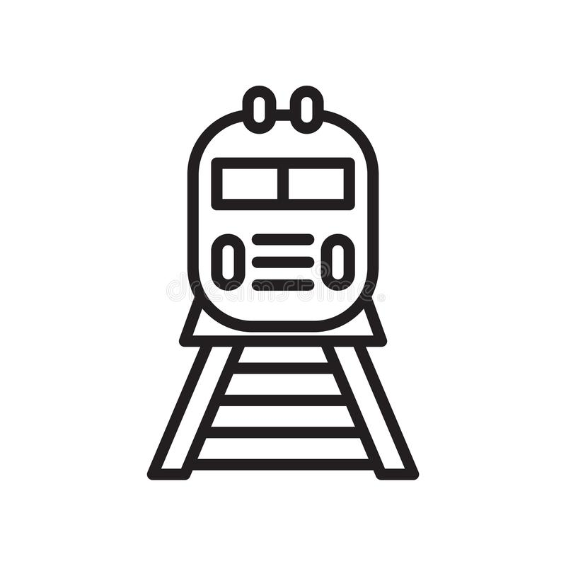 训练象在白色背景和标志隔绝的传染媒介标志,火车商标概念 库存例证