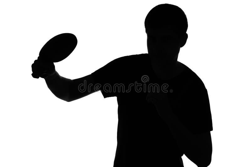 训练人的剪影打在乒乓球比赛 免版税库存照片