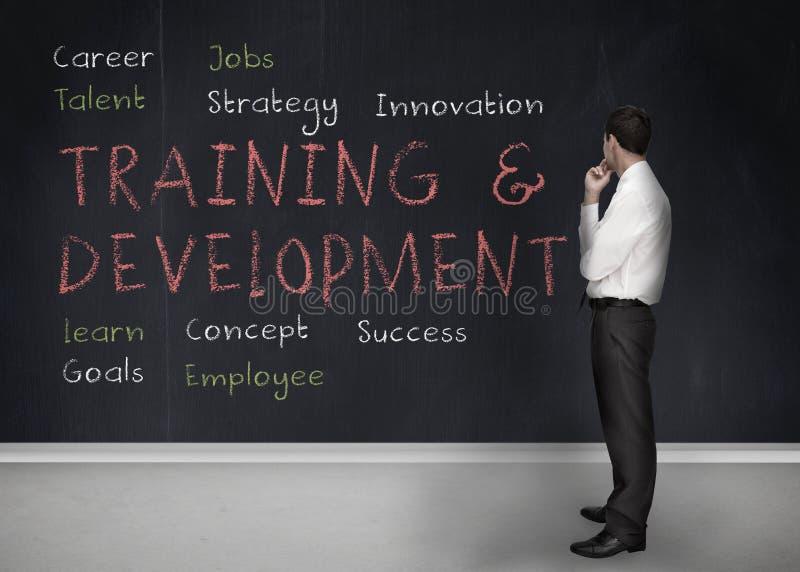 训练和发展在黑板命名写 免版税库存照片