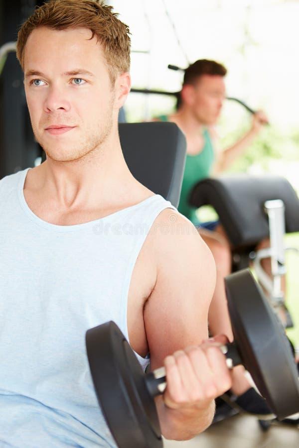 训练在与重量的健身房的两个年轻人 免版税库存照片