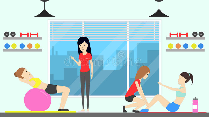 训练在健身中心 皇族释放例证