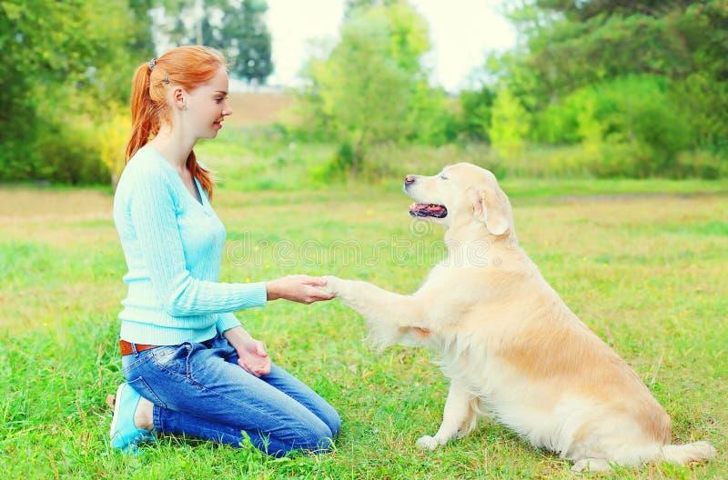 训练在草的愉快的所有者妇女金毛猎犬狗在公园 免版税图库摄影