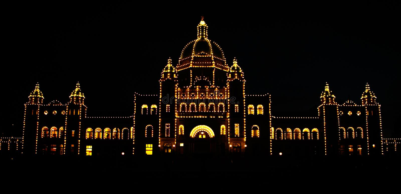 议会宫殿夜场面在维多利亚,温哥华岛,加拿大 免版税库存图片