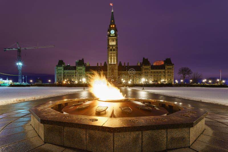 议会小山和百年火焰在渥太华,加拿大 库存照片