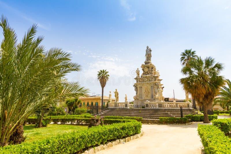 议会正方形在巴勒莫,意大利 图库摄影