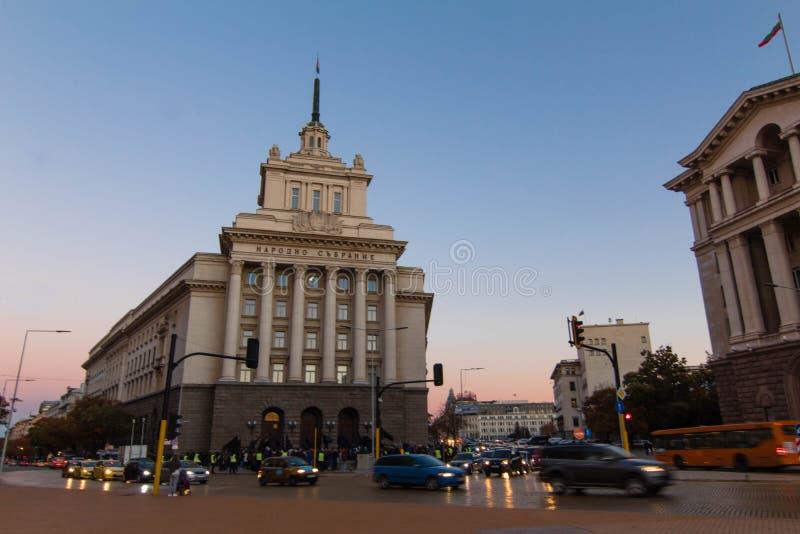 议会正方形在索非亚,保加利亚 库存照片