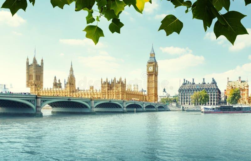 议会,伦敦大笨钟和之家 免版税库存照片