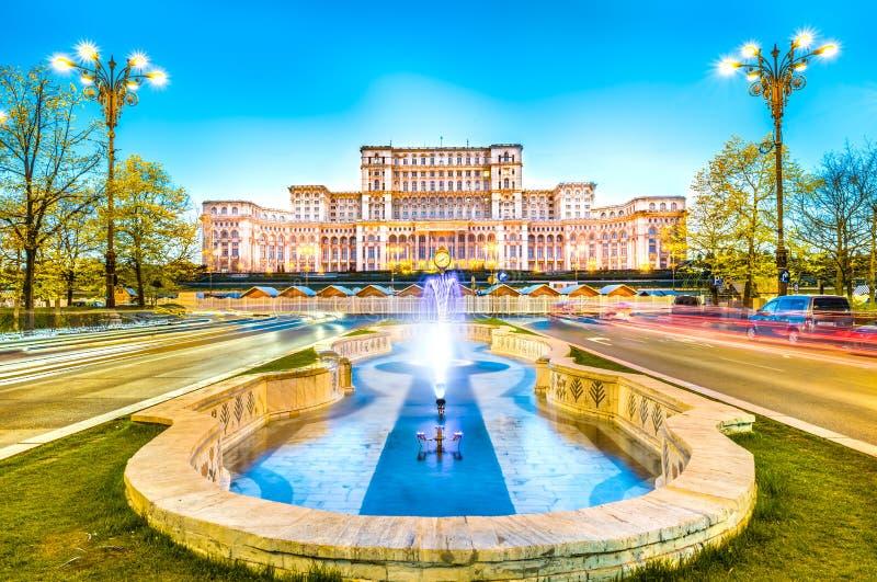议会,布加勒斯特,罗马尼亚的宫殿 免版税图库摄影