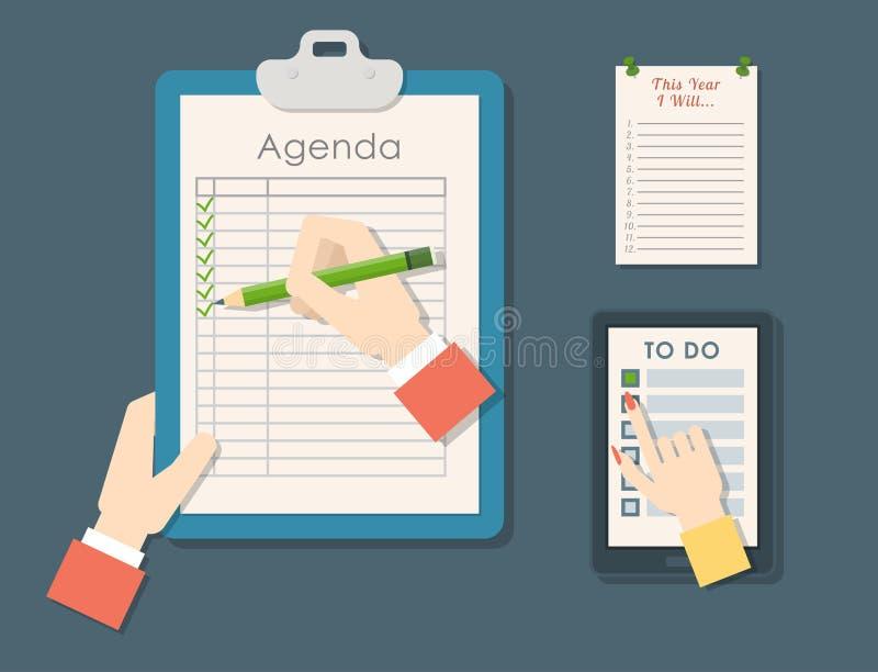 议程名单传染媒介在平的样式自动附着的清单的工商业票据剪贴板注意日程表日历计划者 皇族释放例证