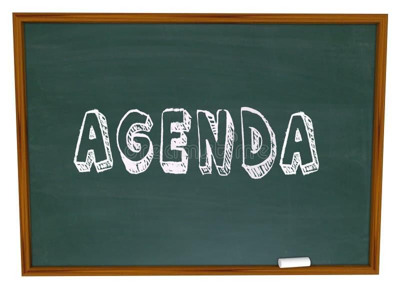 议程日程表词黑板学校课程教训教育 库存例证