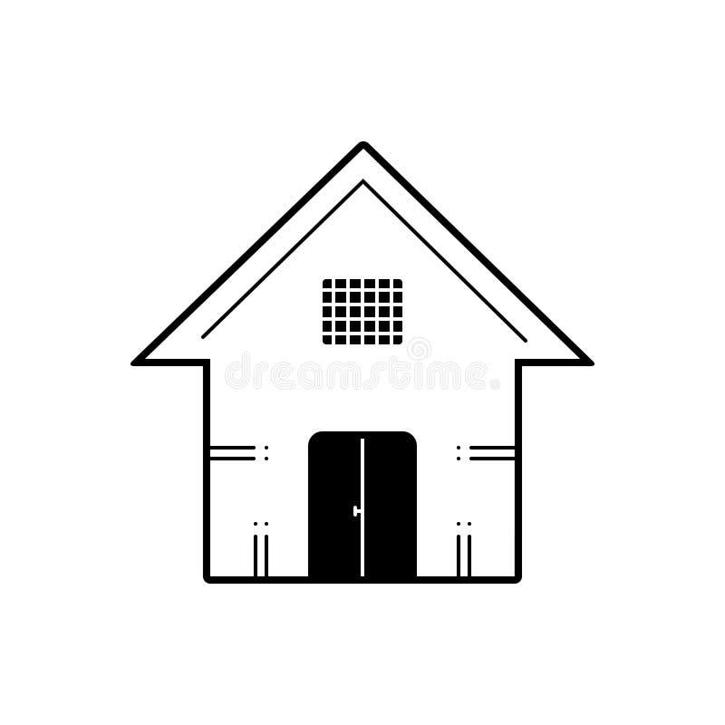 议院、前提和镇的黑坚实象 库存例证