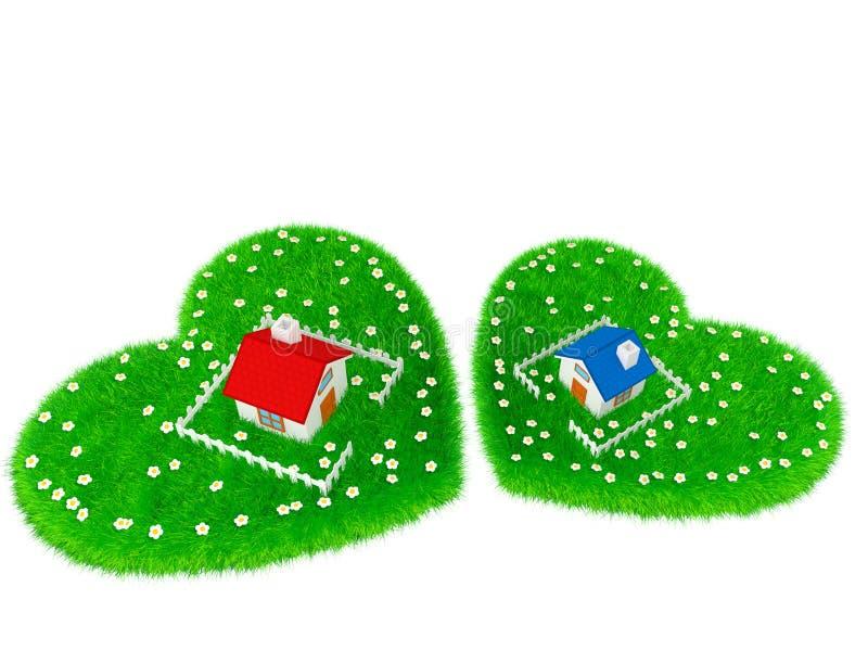 议院位于草原以心脏的形式 免版税库存照片