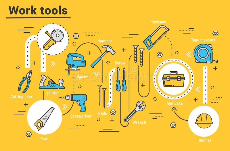 议院修理工具,发嗡嗡声的东西,钻子,钳子,工具箱 皇族释放例证