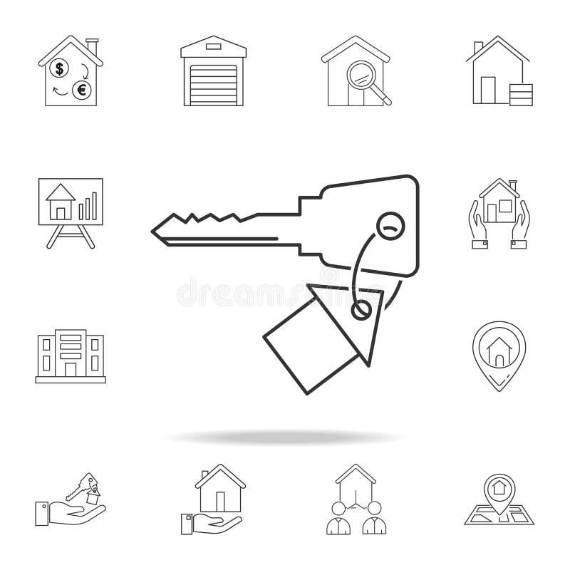 议院关键象 套销售房地产元素象 优质质量图形设计 标志,概述标志汇集象为 向量例证