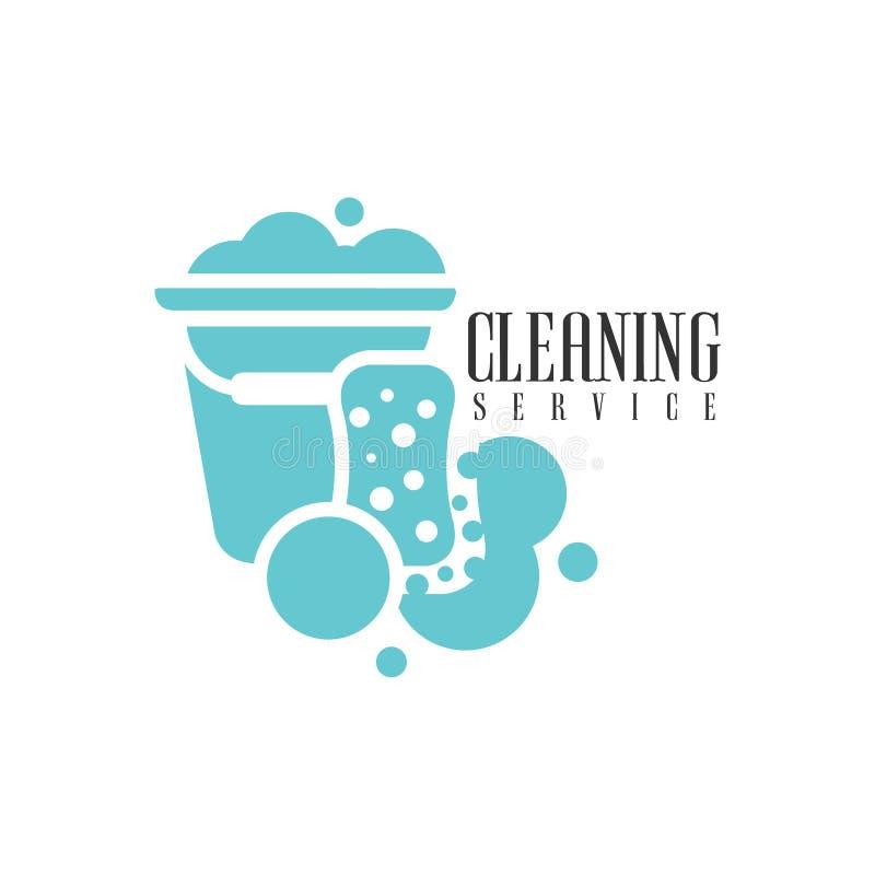 议院和办公室清洁服务聘用与桶的商标专业擦净剂帮助的模板和海绵的 库存例证