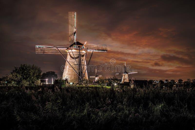 议院和巨型荷兰人在晚上 库存图片