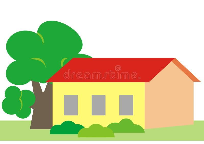 议院和树,传染媒介例证 库存例证