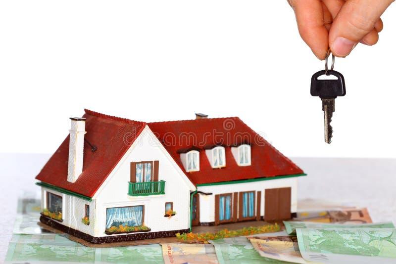 议院和钥匙和金钱 库存照片