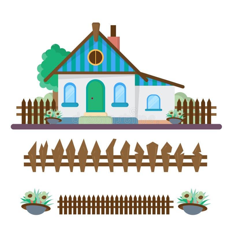议院在乡下,与大农场的风景 完整色彩的传染媒介例证 皇族释放例证