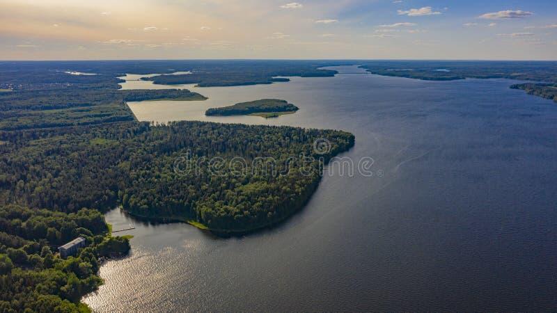 议院在湖附近的森林里 免版税库存图片