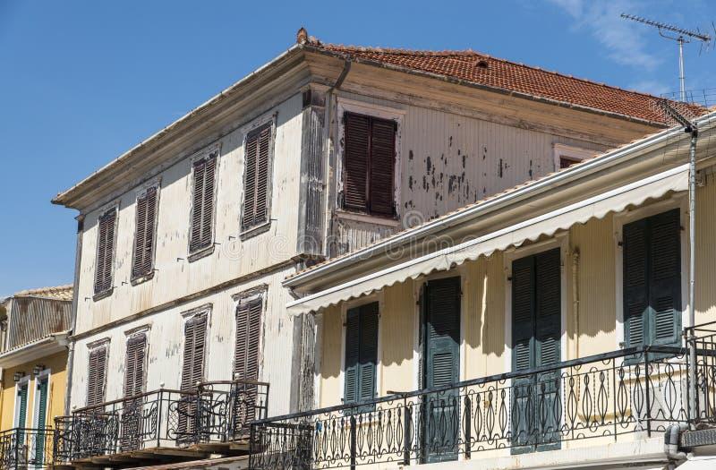 议院在莱夫卡斯州在地震,希腊以后重建了 免版税库存图片