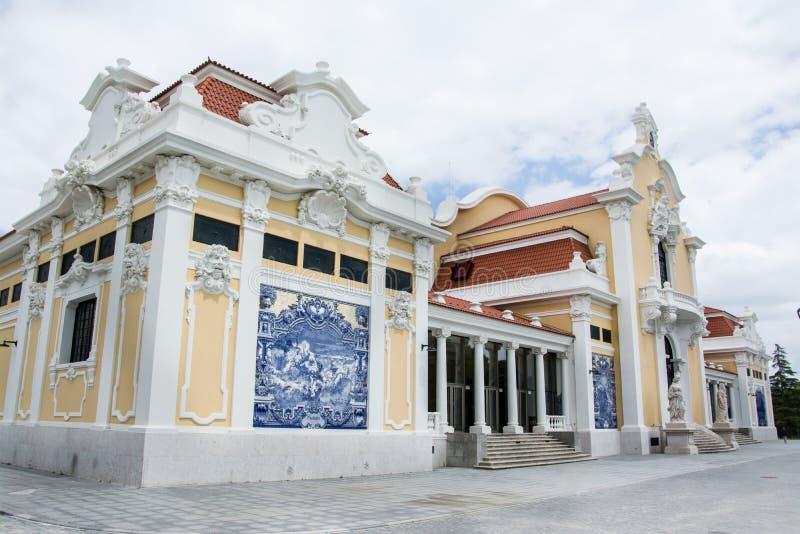 议院在里斯本用azulejo盖了 免版税库存图片