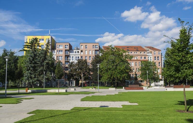 议院在Lovosice镇临近正方形 库存照片