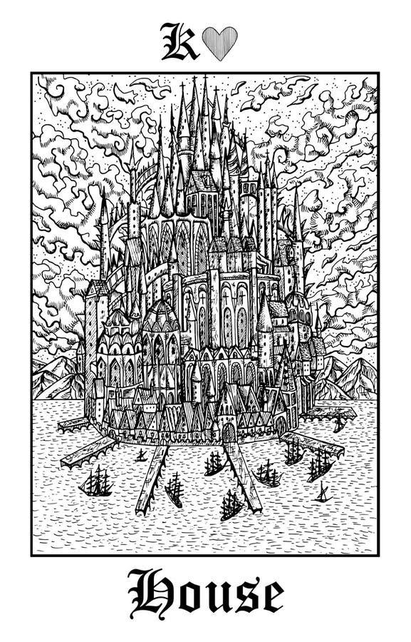 议院城堡 从传染媒介Lenormand哥特式奥秘oracle甲板的占卜用的纸牌 库存例证