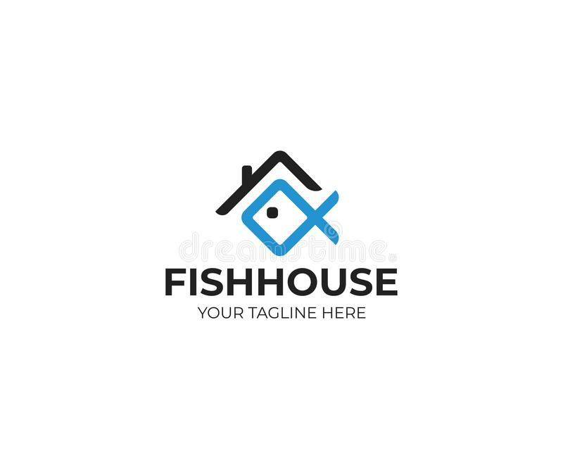 议院屋顶和鱼商标模板 鱼餐馆传染媒介设计 皇族释放例证