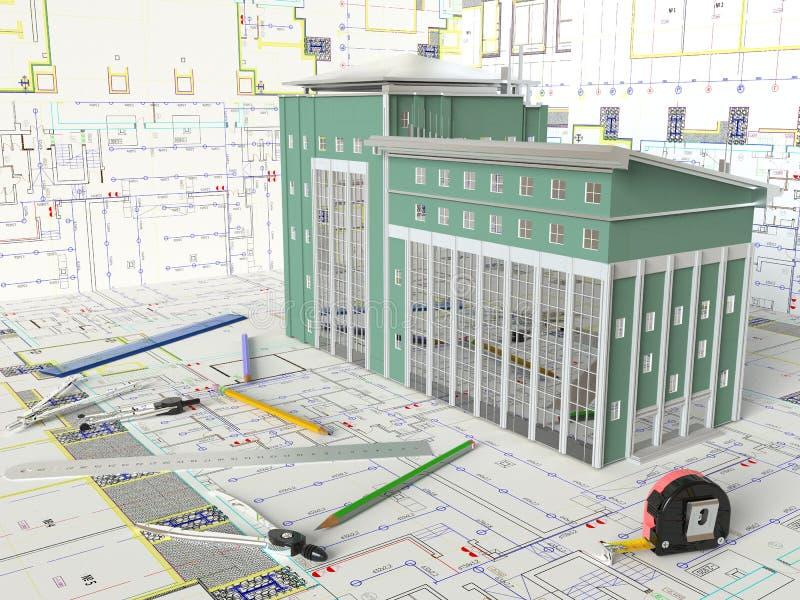 议院布局和建筑图画 库存图片